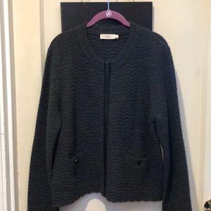 Tory Burch wool/genuine leather cardigan/jacket